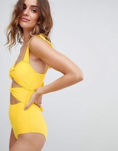 Cut Out Swimsuit With Ties - Yellow