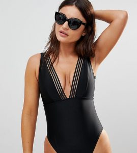 Fuller Bust Cut Out Swimsuit DD-G - Black