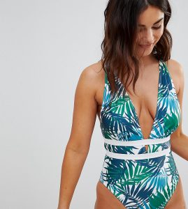 Fuller Bust Plunge Palm Swimsuit DD-G - Green