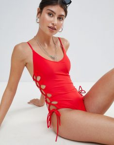High Leg Lace Up Swimsuit - Red