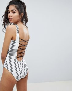 Lace Back Stripe Swimsuit - Multi
