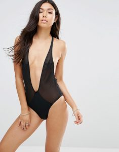 Mesh Star Plunge Suit - Black