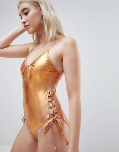 Metallic Swimsuit With Laced Sides - Copper