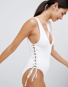 Minkpink Lace Up Side Ribbed Swimsuit - White