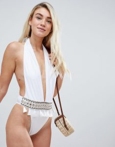 Plunge Embroidered Tassle Swimsuit - White