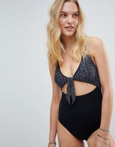 Rip Curl Animal Dots Cut Out Swimsuit - Black