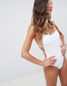 Square High Neck Rib Swimsuit - White