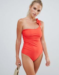 One Shoulder Ruffle Strap Swimsuit - Orange