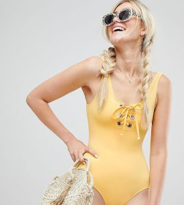 lace up swimsuit in yellow - Yellow