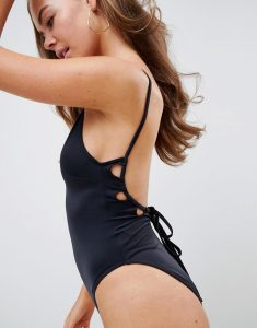 key hole channel back swimsuit in black - Black