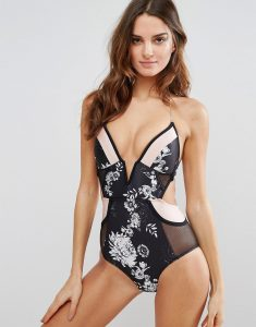 Moulded Deep Plunge Floral Swimsuit - Multi