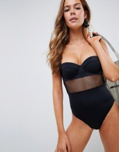 fishnet insert underwired cupped swimsuit in black - Black