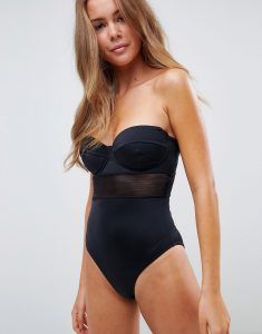 mesh insert underwired cupped swimsuit in black - Black