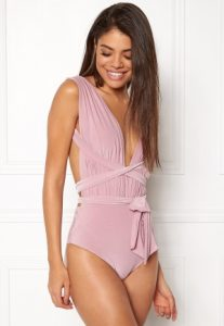 Multi Tie Swimsuit Dusty Pink S