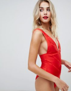 weave detail bandage plunge swimsuit in red - Red