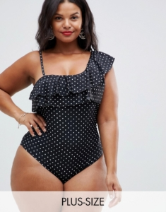 Unique21 Hero one shoulder polka dot swimsuit - Black