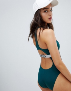 cut out swimsuit in forest green - Green
