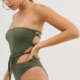 cut out swimsuit in khaki - Green