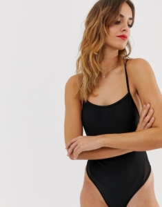 low back swimsuit with mesh panel and adjustable straps - Black