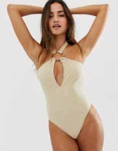 ring detail halter neck swimsuit in nude - Beige