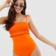 shirred frill tie shoulder swimsuit in orange - Orange