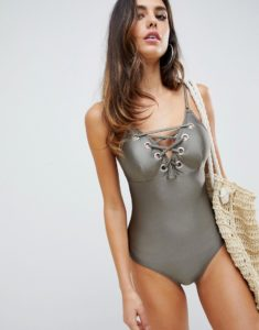swimsuit with lace up detail in khaki - Green