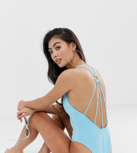 ASOS DESIGN Petite Strappy Ring Back Swimsuit - Blue