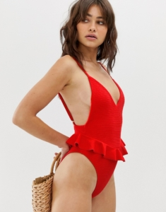Montce Cynthia textured swimsuit in crimson - Red