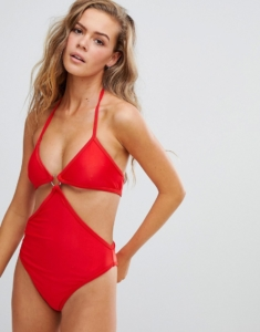 Morganne ring detail swimsuit - Red