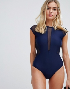 Unique21 capped sleeve swimsuit with mesh detail - Navy