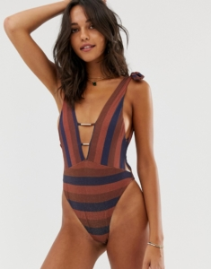 plunge swimsuit with tie shoulders in stripe - Multi