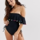 pom pom frill off shoulder swimsuit with lace up detail in black - Black