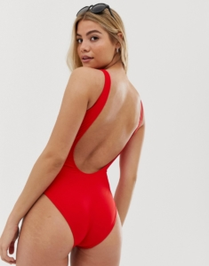 scoop swimsuit in red - Red