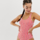 stripe scoop neck swimsuit in red and white - Black