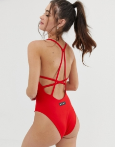 swimsuit in red with strap back detail - Red