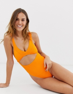 swimsuit with cut out in orange - Orange