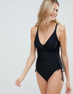 Fuller Bust tummy control swimsuit in black - Black