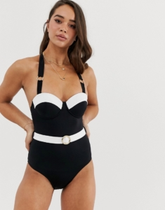 contrast swimsuit with belt in monochrome - Black