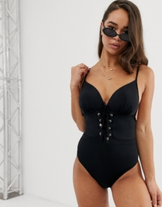 lace up swimsuit in black - Black