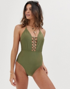 swimsuit with circle detail in khaki - Green