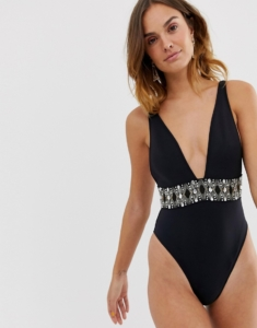 swimsuit with embellished detail in black - Black
