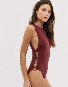 Active ring side high neck swimsuit in plum - Purple