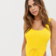 Fuller Bust Exclusive high leg adjustable waist swimsuit in daffodil - Yellow