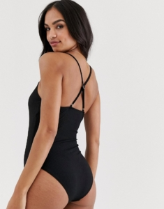 cross back swimsuit in black - Black