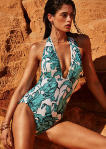 Moontide Mono Bloom Plunge Swimsuit