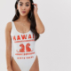 recycled petite hawaii slogan scoop neck swimsuit - White