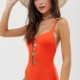 Active ring front swimsuit in orange - Orange