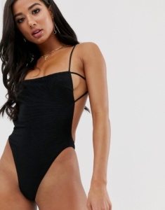 Bound backless swimsuit in black - Black