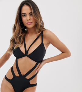Fuller Bust Exclusive shiny cut out swimsuit in black - Orange