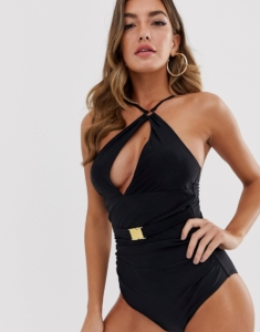asymmetric plunge swimsuit with belted waist in black - Black